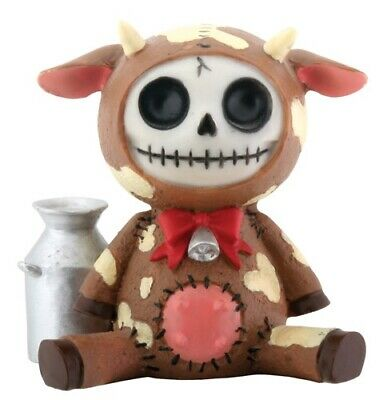 Furrybones Moo-Moo Figurine Brown Cow Cute Different Gothic Skeleton Skull Gift