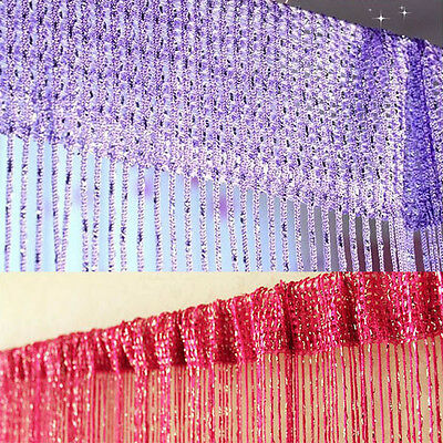 String Curtain Door Divider Crystal Silk Tassel Screen Panel Scarf Home Decor