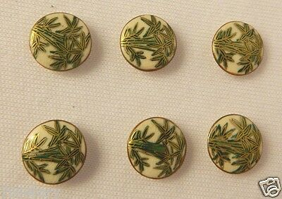 Vintage Satsuma Japan Bamboo Print Ceramic Buttons With Gold Trim Set Of 6