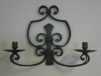 Lovely Antique Vintage Gothic French Iron Wall Sconce Double Wall Light & LOVELY ANTIQUE VINTAGE Gothic French Iron Wall Sconce Double Wall ...