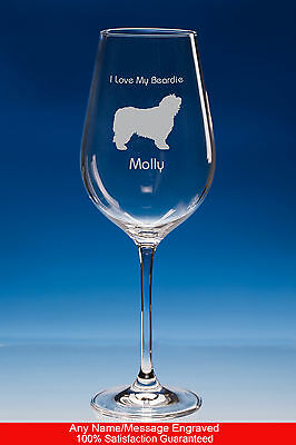 Bearded Collie Wine Glass Dog Gift Personalised Engraved Gift For Dog Lovers