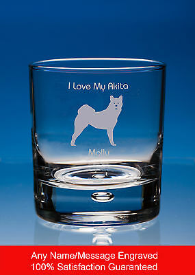 Akita Dog Gift Personalised Engraved Whisky Glass Tumbler