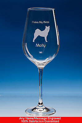 Akita Dog Gift Personalised Engraved Fine Quality Wine Glass