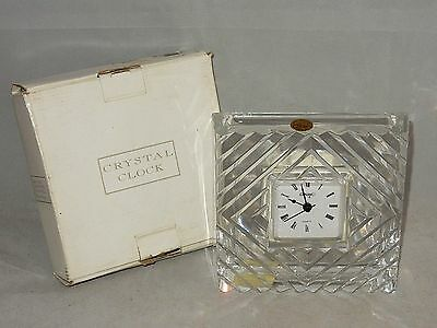 """NEW ~ CONCEPT & CRISTAL D'ARQUES PbO 24% LEAD CRYSTAL 6.5"""" SQUARE CLOCK ~ FRANCE"""