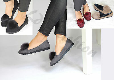 New Womens Pom Pom Suede Style Loafers Brogue Flat Ballet Pumps Autumn Shoes