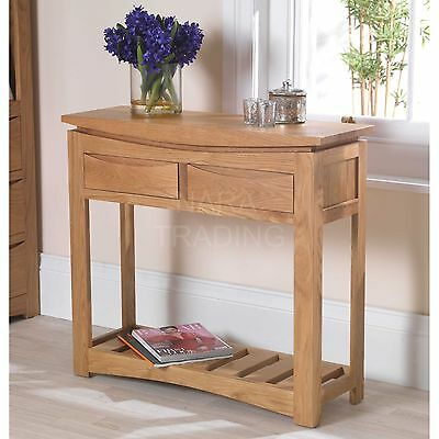 Crescent solid oak hallway modern furniture console hall table