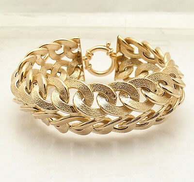 "8"" Technibond Starburst Domed Double Curb Bracelet 14K Yellow Gold Clad Silver"