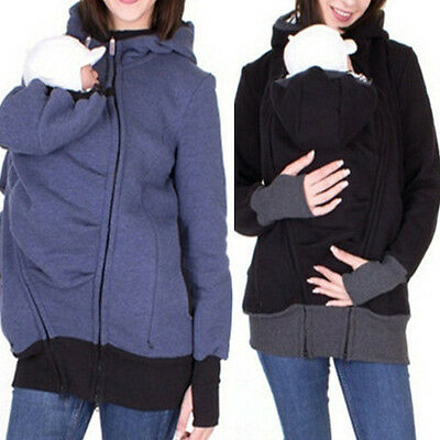 Baby Carrier Jacket Casual Autumn Winter Hooded Zipper Coat for Pregant Women