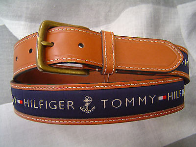 Tommy Hilfiger Men's Casual Belt Tan With Navy Blue Cotton Logo Inlay