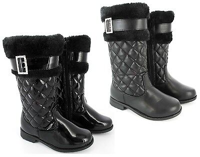 Girls Faux Fur Lined Buckle Quilted Kids Infants Mid Calf Winter Boots Size 4-2