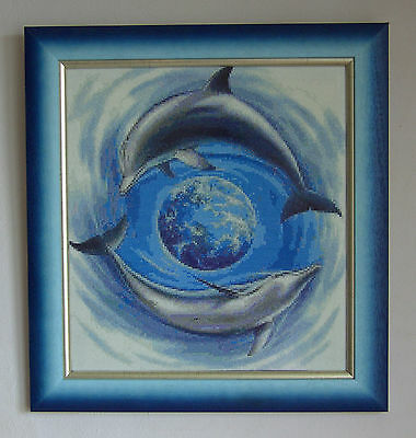 Dolphins World - Finished completed framed Cross Stitch