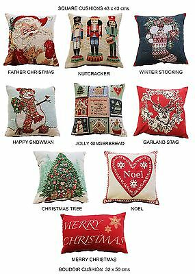 Vintage Christmas Festive Tapestry Xmas Filled Scatter Cushions