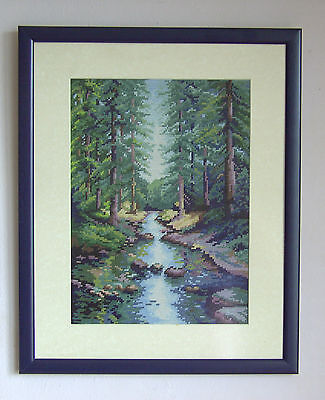Forest stream - Finished completed Cross Stitch