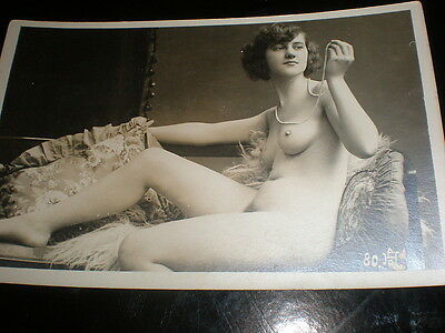 Old postcard nude woman pearls chaise longue French AHR80 c1910s - 1920s