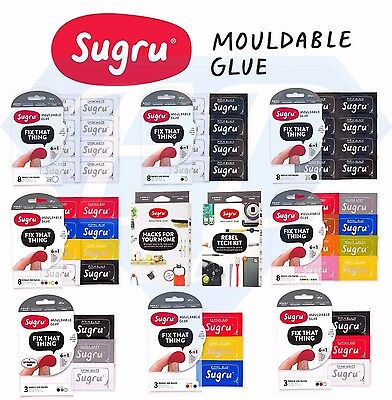 Sugru Mouldable Glue 3 & 8 Pack Various Colours, Unique Colours Also Stocked