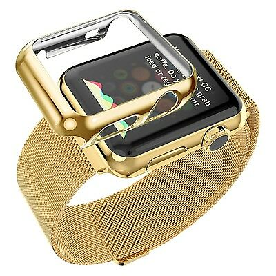 Biaoge Apple Watch Band Steel Milanese with Plated Case, Gold 38mm, New