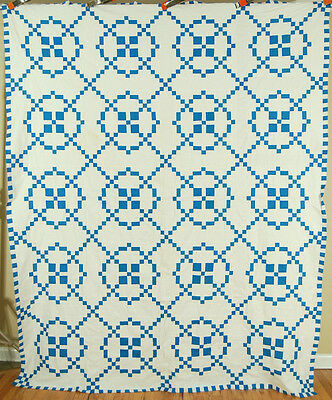 OUTSTANDING Vintage 40's Blue & White Burgoyne Surrounded Antique Quilt Top!