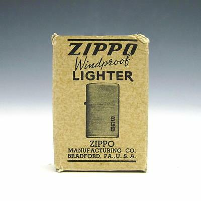 1940's WWII / Post War Zippo Lighter BOX ONLY - Tall Nickel Silver/Black Crackle