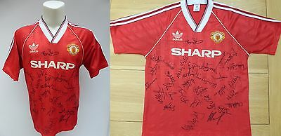 1989-90 Man Utd Original FA Cup Winners Home Shirt Signed by Squad RARE (8623)