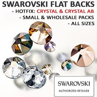 SWAROVSKI Crystal Flat Backs / Rhinestones *HOTFIX *CLEAR-AB-JET *ALL SIZES