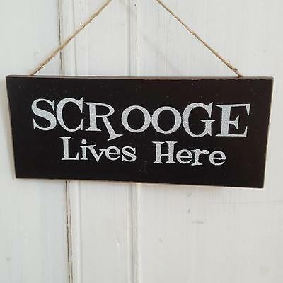 Scrooge Lives Here Chic N Shabby Black Glittery Christmas Sign