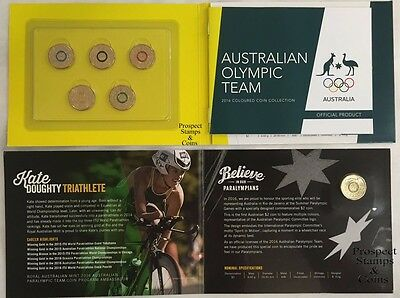 2016 - Australian Olympic Team and Paralympic Coloured Two dollar ($2) UNC Coins