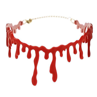 1xHandmade Cutting Bloodstain Necklace Halloween Props Party Cosplay New