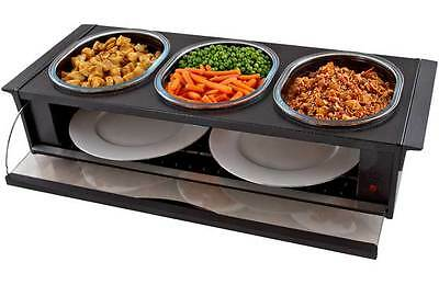 Hostess H0392BL Buffet Server with 3 Heat Resistant Dishes - Black -From Argos