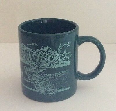 State Of Oregon Green 10 Ounce Mug Mountains Fish & Elk Graphic