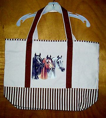 Trio of ARABIAN HORSE Beauties - 100% Cotton Canvas,heavy duty, X-Large TOTE BAG