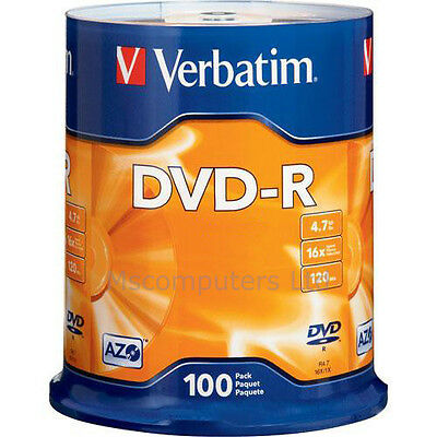 Verbatim DVD-R 100 Pack Spindle 16x 4.7GB Blank DVDs Media Disks