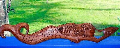 """Mermaid relief Panel hand carved wood Bali Art Nautical Wall Decor right 30"""""""