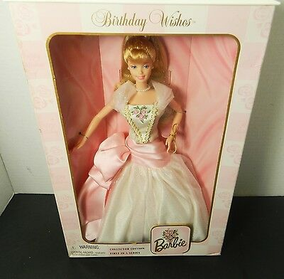 Birthday Wishes Collector's Edition Mattel Barbie Doll Pink & White Gown Dress**
