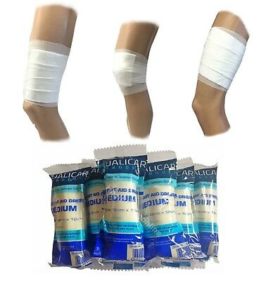 12x12cm Medium Sterile Wound Dressings - First Aid Refils & Work - Cuts Wounds