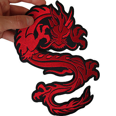Large Iron On Embroidered Chinese Dragon Patch / Sew On Jacket Shirt Biker Badge