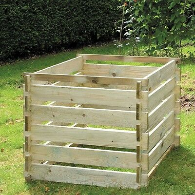 Extra Large Wooden Compost Bin Garden Food Waste Composting Timber Recycling