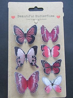 Beautiful Butterflies 7 Pink Self Adhesive 3D Stickers
