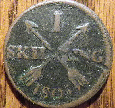 1805 Sweden 1 Skilling - LARGE THICK COIN - Very Nice LOOK