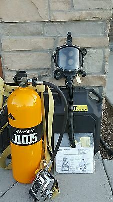 Excellent! SCOTT AIR-PAK IIa FIRE RESCUE TANK, MASK, HARNESS 2216 PSI W/CASE