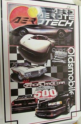 1988 Oldsmobile Cutlass Indy 500 Pace Car Poster Rick Mears Chuck Yeager Signed