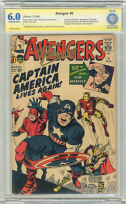 1964 Avengers 4 CBCS 6.0 Signed by Stan Lee Signature 1st SA Captain America