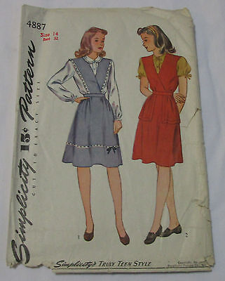 Vintage Simplicity 1940's Pattern 4887 Teen-Age Jumper & Blouse Size 14 Bust 32