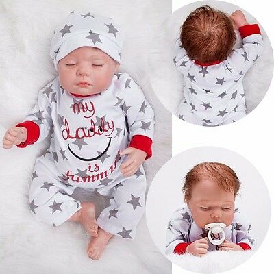 "Lifelike 22"" Boy Doll Newborn Dolls Soft Silicone Vinyl Reborn Baby & Clothes"
