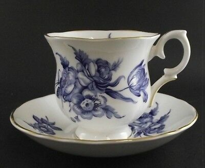Rich Blue Floral  Crown Staffordshire Tea Cup And Saucer