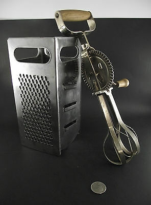 Vintage  Kitchen Stainless Square Cheese Grater And Mastermix Egg Beater