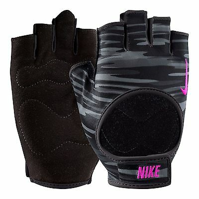 NEW Nike Womens Fit Training Gloves - Sports Gym Fingerless - Black & Grey Camo