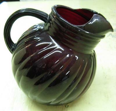 Antique Small Ruby Red Glass Slanted Ball Water Pitcher Swirl Kitchen 1940's