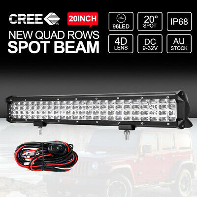 20 inch CREE LED Light Bar 1440W Quad Rows Spot Flood Work Driving 4x4 4WD Truck
