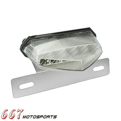 Motorcycle License Plate Mount LED Turn Signal Intergrated Tail Light For ATV