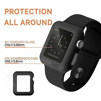 3X Black Rugged Protective Case & Tempered Glass For Apple Watch 38mm IWatch